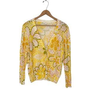 J. Crew   Yellow Floral Retro Cardigan Sweater